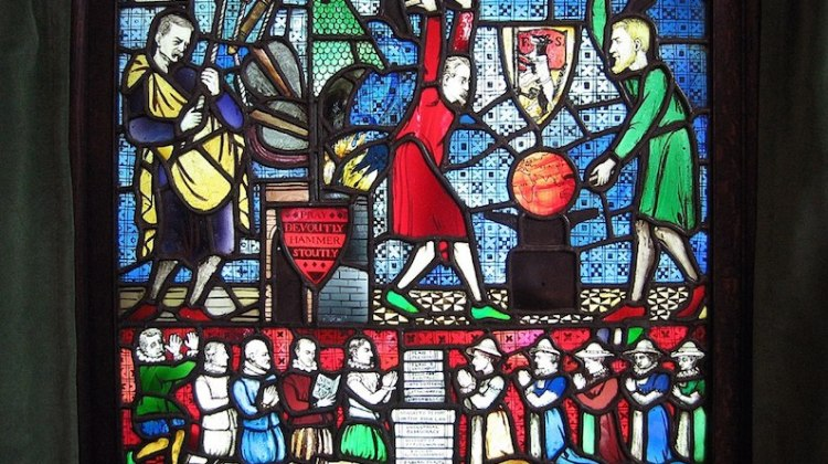 Stained glass window designed by George Bernard Shaw for the Fabian Society: CC By 2.0