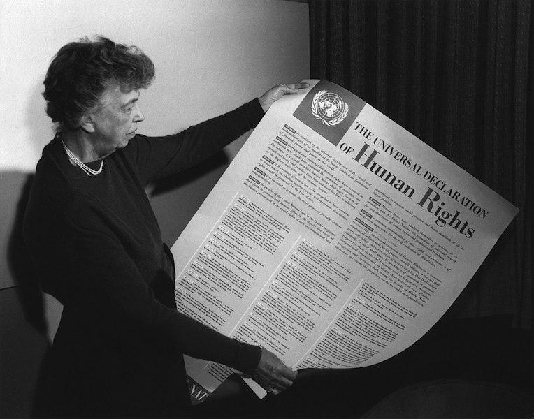 Eleanor Roosevelt holding the original Declaration of Human Rights