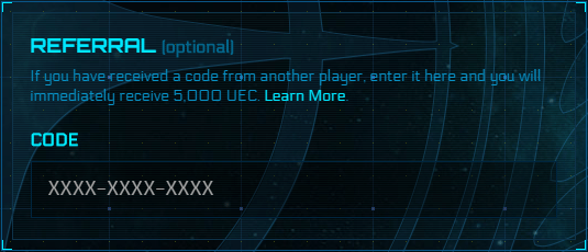Where to enter referral code for Star Citizen