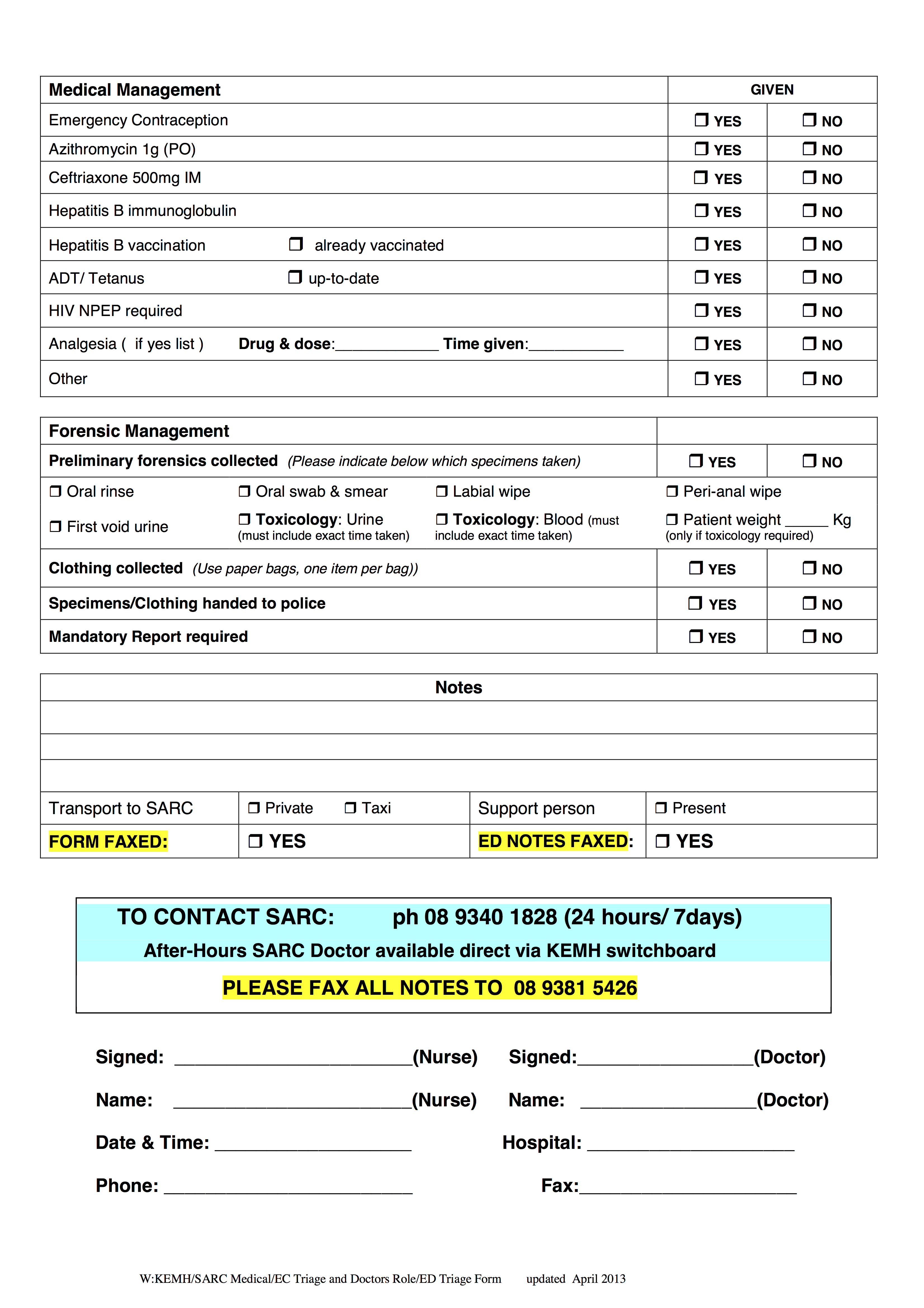 Sarc Ed Triage Form Page 2