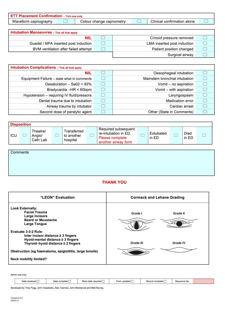 ED Airway Registry Form pg2