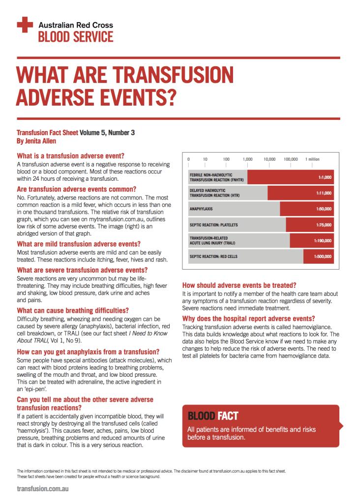 transfusion reactions fact sheet