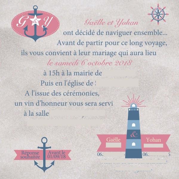 faire-part mariage marin rose bleu fleurs
