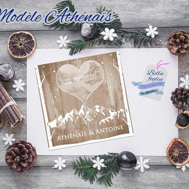 faire-part mariage bois neige montagne