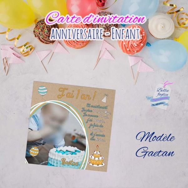 Carte d'invitation anniversaire 1 an