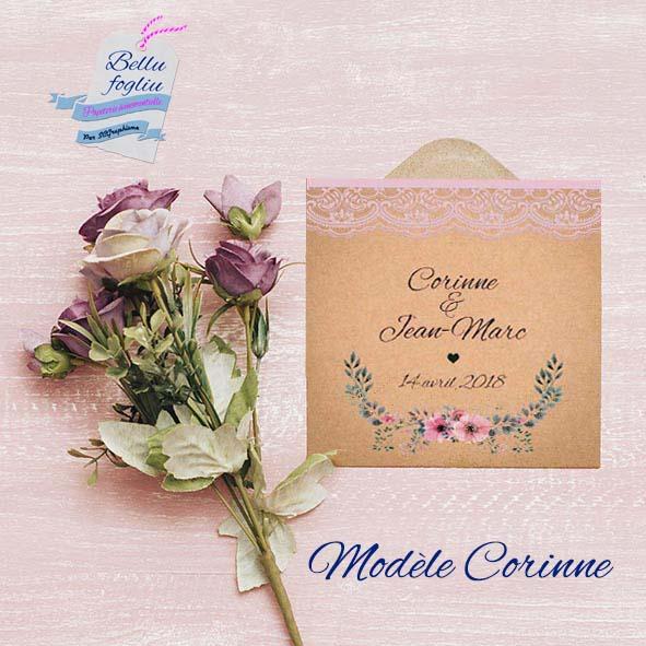 Faire-part mariage champetre kraft fleur dentelle