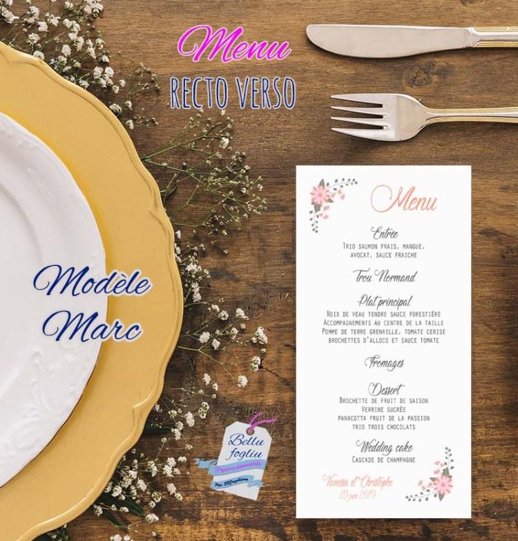 Les menus de mariage recto-verso