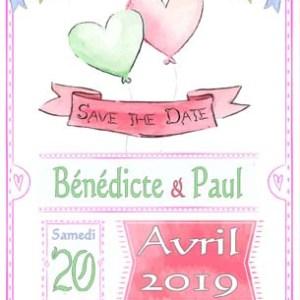 save the date mariage kraft pastel coeur ballon
