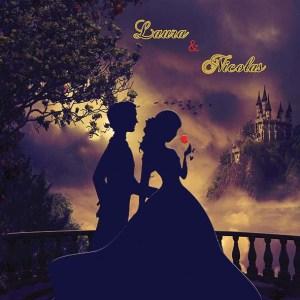 faire-part mariage belle bete disney rose