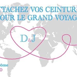 faire-part mariage billet avion voyage tour du monde