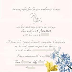 Faire-part mariage fleur coloré