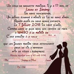 Faire-part mariage disney carrosse princesse couple prince