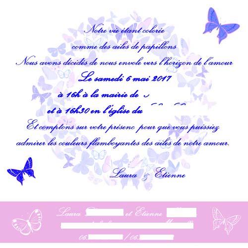 faire-part mariage papillons pastel
