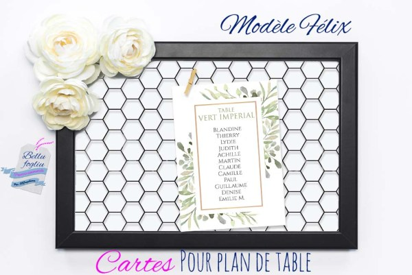Cartes pour plan de table