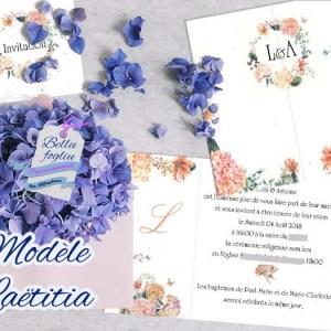 faire-part mariage fleurs pastel hortensia