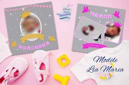 faire-part naissance gris strass or rose princesse Disney