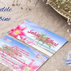 faire-part mariage plage tropicale hibiscus palmier