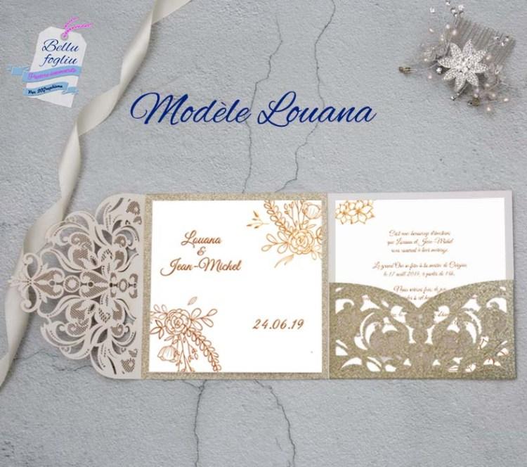 faire-part mariage pochette ciselée gold or fleurs doré