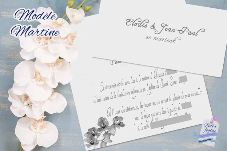 faire-part mariage orchidée argenté