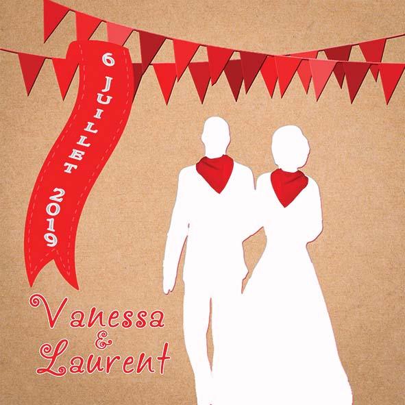 faire-part mariage feria rouge blanc kraft sud-ouest