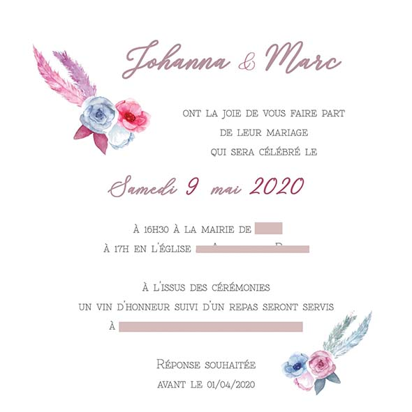 faire-part mariage pochette ciselée rose plume pastel