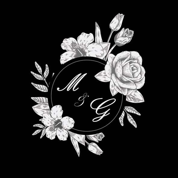 faire-part mariage noir et blanc fleurs couple