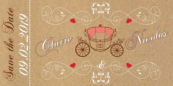 save the date mariage carrosse princesse Disney