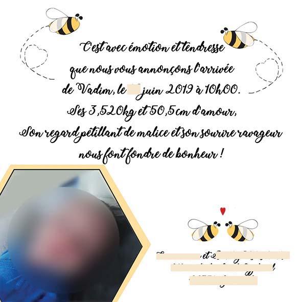 faire-part naissance abeille noir et doré