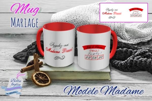 Mug personnalisable mariage madame oui