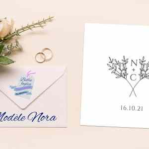 faire-part mariage initiale traditionnel olivier