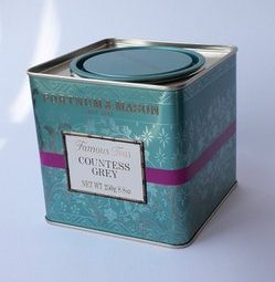 Fortnum and Mason tea caddy. Picture for packaging review on scgreenwood.co.uk