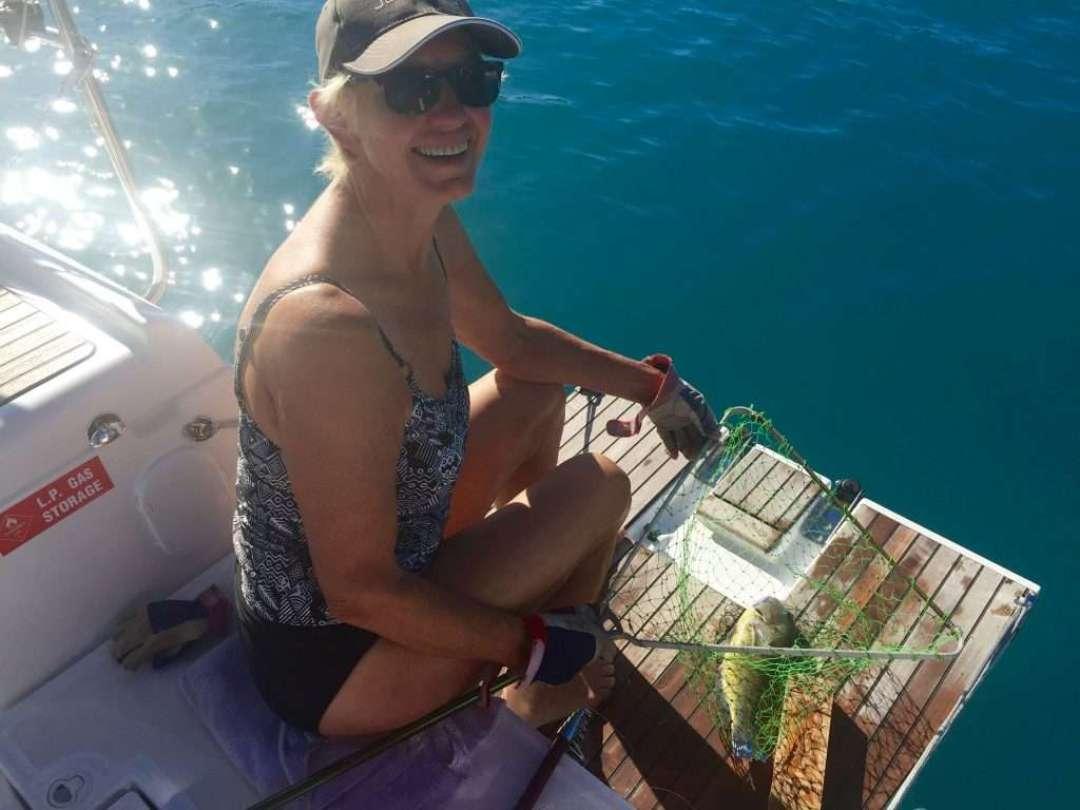 Annie caught an ocean trout for dinner.
