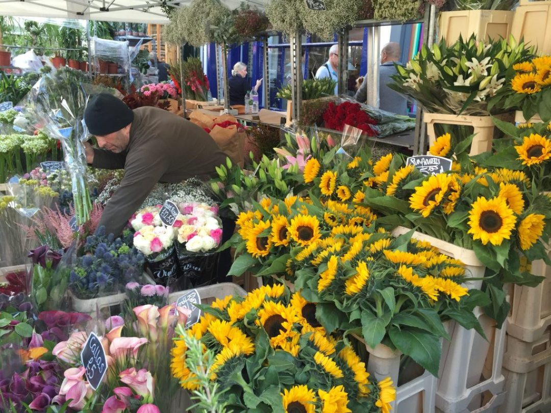A stall at the flower markets.