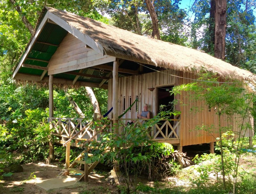 Our no.7 bungalow, 10m from the water and next to a creek.