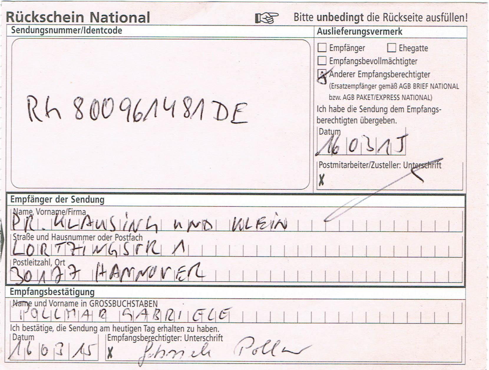 rückschein national ausfüllen