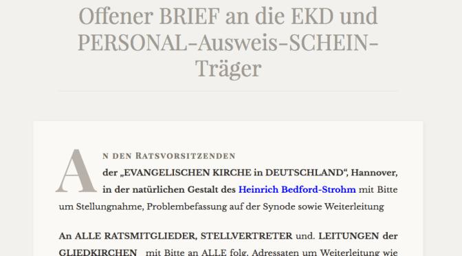 Update 1: Offener BRIEF an die EKD und PERSONAL-Ausweis-SCHEIN-Träger