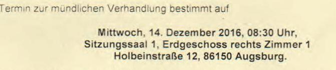 Prozeßbeobachter für Mi 14.12.2016 SG Augsburg um 08.30 Uhr