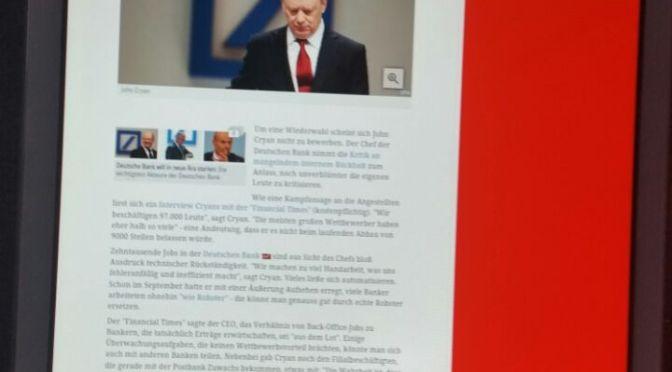 Jeder zweite Deutschbanker ist überflüssig – sagt der Bankchef