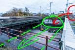Hier kann die Fernbahn erst anfangen abzutauchen. Die B295 darf dabei nicht beeinträchtigt werden.