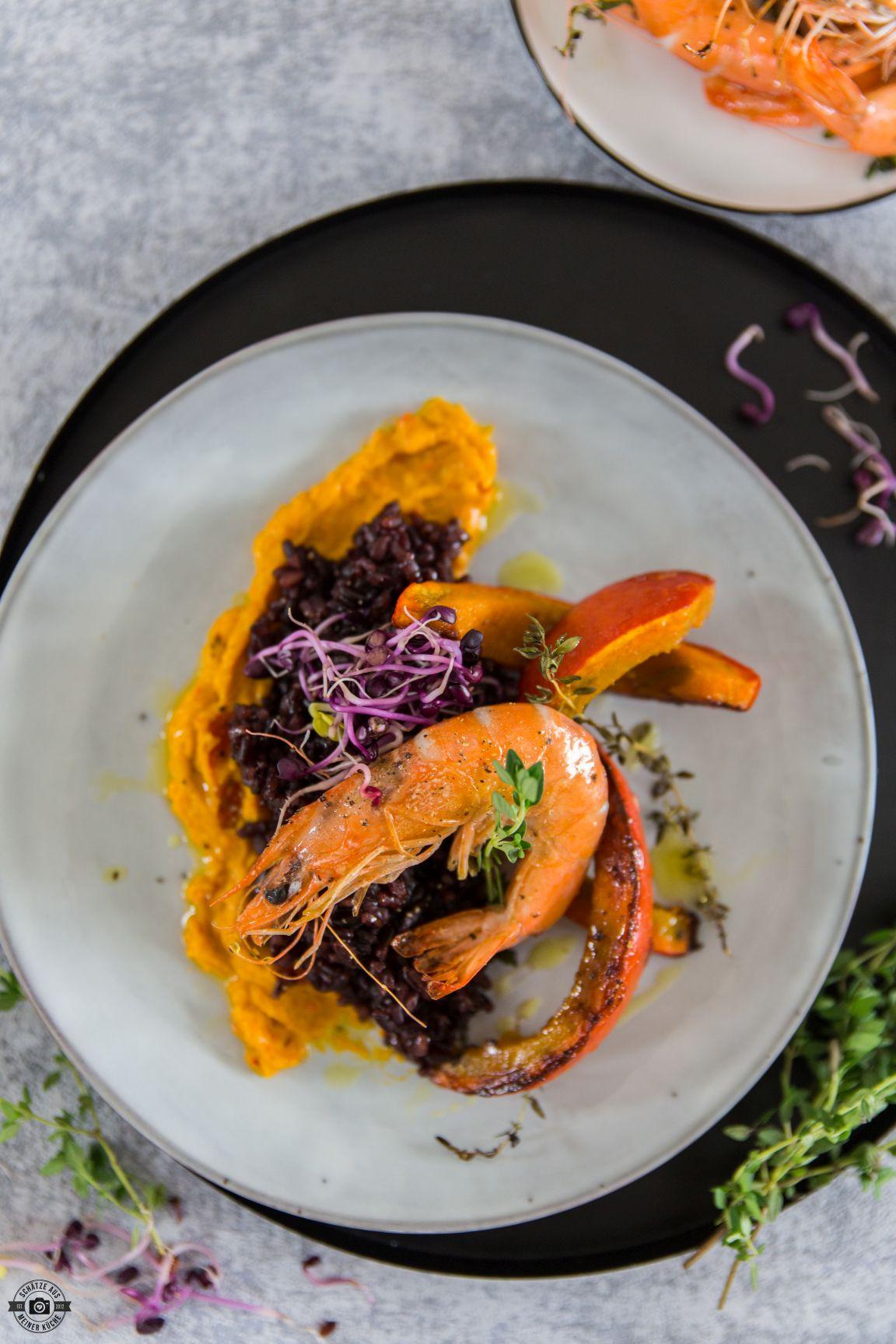 Schwarzer Reis mit Kürbis und Bayerischer Garnele Combo Hob AEG Schätze aus meiner Küche