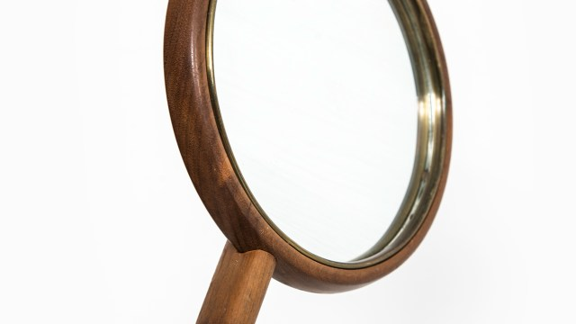 High quality hand mirror in walnut and brass wire at Studio Schalling