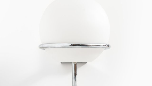 Hans-Agne Jakobsson wall lamps in chrome and opal glass at Studio Schalling