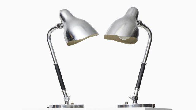 Vilhelm Lauritzen table lamps in chromed steel at Studio Schalling