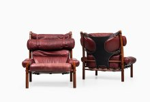 Arne Norell Inca easy chairs in red leather at Studio Schalling