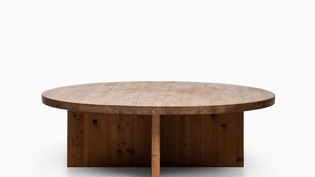 Large and low coffee table in pine at Studio Schalling