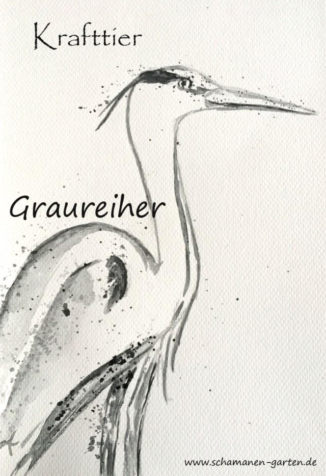 Krafttier Graureiher, Aquarellzeichnung, stehend, Krafttier Graureiher spirituelle Bedeutung