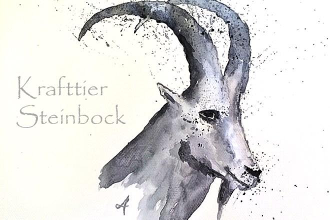 Krafttier Steinbock, Bedeutung, gemalt Aquarell