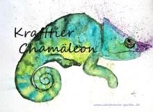 Krafttier Chamäleon, Bedeutung, gemalt, Aquarell