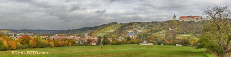 Freyburg mit der Neuenburg im Herbst