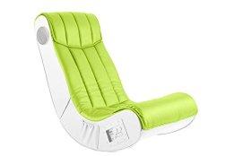 AC Design Furniture 48500 Musiksessel Henk, Bezug Kunstleder lime, Seiten Kunstleder weiß mit eingebautem Soundsystem -